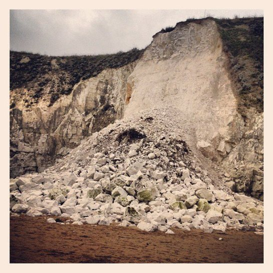 Cliff fall at Lyme Regis: Sarah Craske