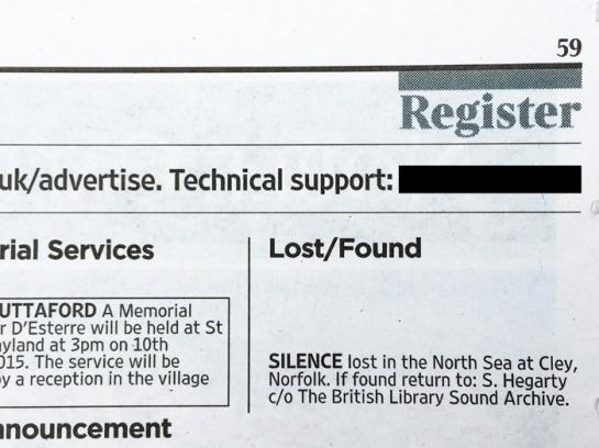 silence lost: announcment